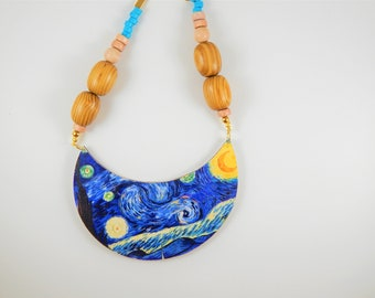 Colorful necklace, Starry night Necklace, Art necklace. Statement Necklace, Unique jewelry, Wooden necklace, colorful jewelry, Gift for her
