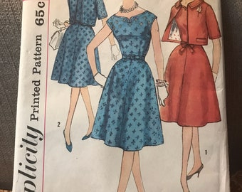 Vintage 60s Simplicity 3917 Dress and Jaxket Pattern-Size 14 (34-26-36)