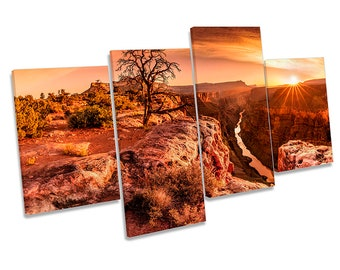 Grand Canyon Sunset Framed MULTI CANVAS PRINT Wall Art