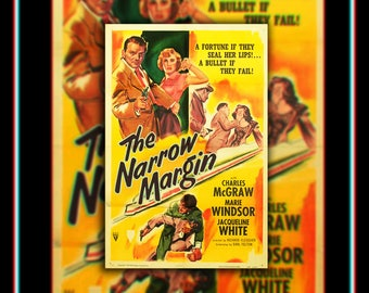The NARROW MARGIN (1953) Very Rare 27x40 Fold US One Sheet Movie Poster Original Vintage Collectible