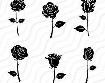 Black Rose SVG, Rose SVG, Rose Clipart, Rose Blossom SVG Cut table Design,svg,dxf,png Use With Silhouette Studio & Cricut_Instant Download