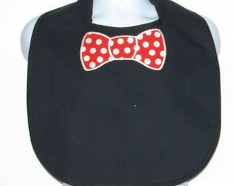 Adult Bib With Bow Tie, Red Polka Dot, Custom Funny Gag Gift, For Husband, Canvas, Personalize With Name, No Shipping Fee, Ships TODAY 1172