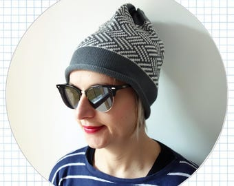 geometric knit hat, 100% merino wool beanie, winter hat, grey, white