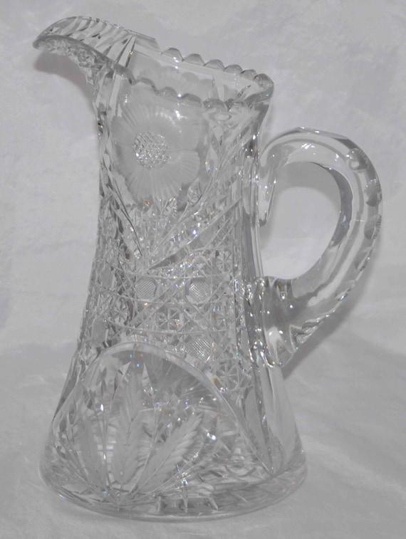 Rare Antique 1900 IRVING CUT GLASS Co Inc A B P Water Pitcher, Cross Hatch Cut, Intaglio, Floral & Leaf, Appld Handle, Triple Miter Cut Lip