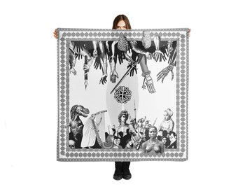 Large Blanket Scarf, Fashion Accessories, Crowded Party, Artsy Shawls Wrap, Festive Happy Scarf, Celtic Patterns, Hands Up, Dinosaur Scarf