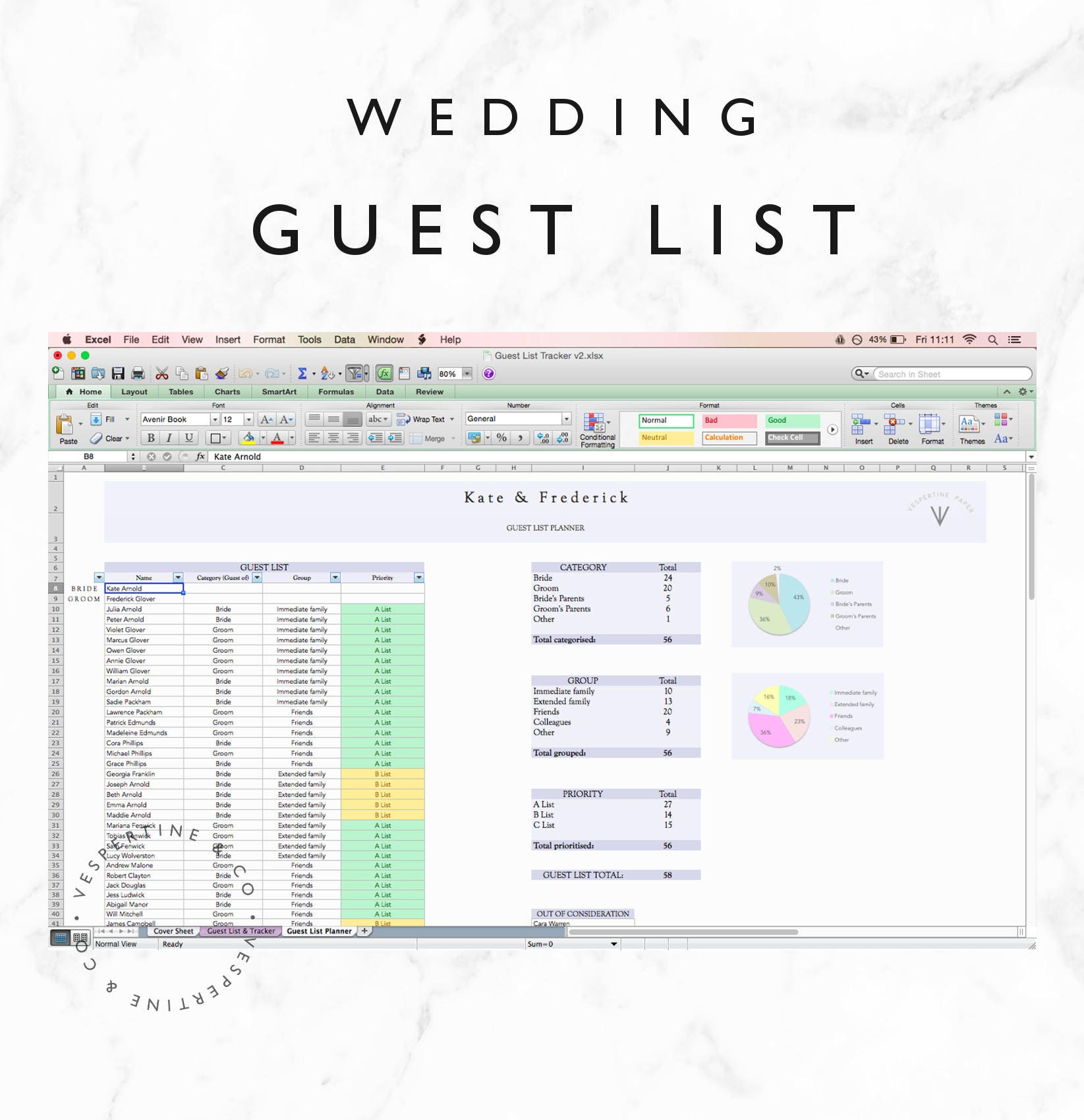 Wedding Guest List Planner and Guest List Tracker Excel