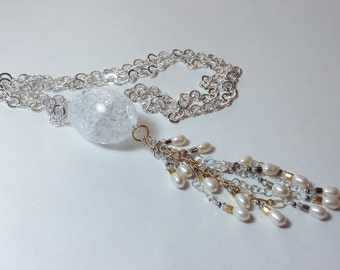 Freshwater Pearl Tassel on Silver Chain With Swarovski Crystal Necklace--Rock Star--By Lady Grey Beads