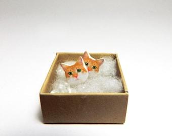 Orange Cat stud earrings Kitty stud earrings Post earrings Pet earrings Cat post earrings Animal earrings GIFT for her