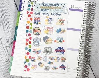 DP57 || APRIL WACKY HOLIDAYS Planner Stickers - PlannerKate & DorkyDoodles (Removable Matte Stickers)