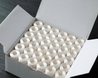 144 x White Pre-wound Plastic Bobbins Embroidery Thread
