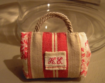 PIN pouch ticking and French toile de jouy