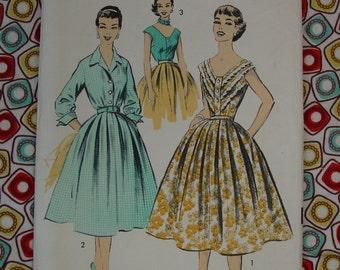 Vintage Pattern c.1950's Advance No.8006 Two Blouse Styles, Full Skirt, Sz.12