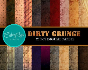 Dirty Grunge Digital Papers , Scrapbook Papers, Vintage Old Papers- Instant Download