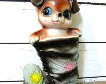 Puppy Coin Bank, Puppy Dog in Boot, Cute Vintage Puppy Dog, Vintage Coin Bank, Vintage Piggy Bank, Dog Bank