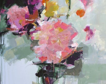 """FLORAL ABSTRACT PAINTING """"Felicity"""" Acrylic on 25"""" x 34"""" canvas Original Art by Elizabeth Chapman"""