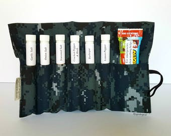 US Navy Deployment Gift, USN Sailor Gift, Boot Camp, Going Away, Care Package, NWU Camo. Spices in a unique roll up kit