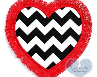 Fringed Heart Appliqued Embroidered Patch, Sew or Iron on