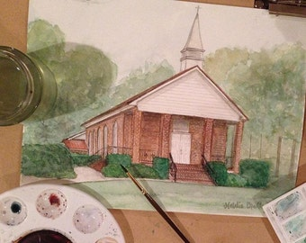 Watercolor Painting of County Line Baptist Church outside of Ideal, GA - 8x10 print