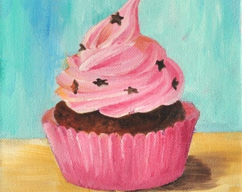 "Star cupcake-Original oil painting on 6X6"" canvas"