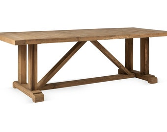 8 Ft Reclaimed Solid Wood Trestle Style Dining Table, Vintage and Rustic, VMW1053