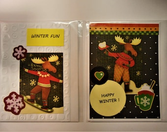 Winter Season Cards Handmade Set of 2 for Winter season Papercrafted and Made in Maine