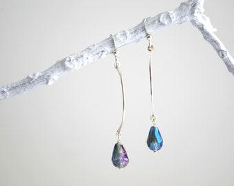 Sterling Silver Frozen Drop Earrings -- Iridescent Blue Teardrop Crystal