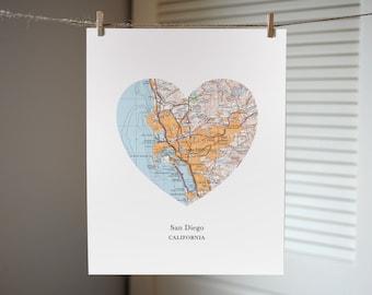 San Diego Art, Heart Map Print, California Art Print, Custom City Print, San Diego Map
