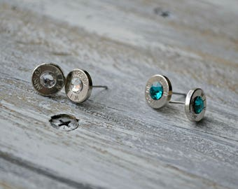 bullet stud earrings, crystal bullet earrings, bullet birthstone earrings, handmade earrings