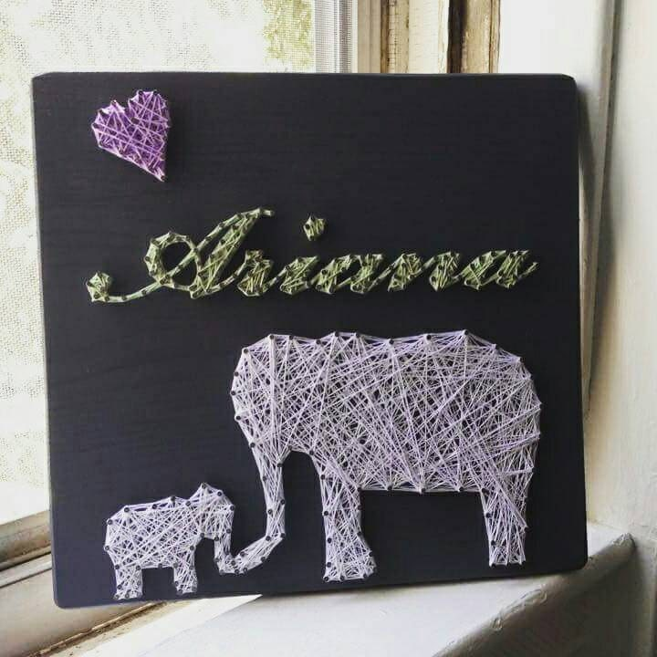 Mommy and baby elephant string art personalized string art zoom negle Gallery