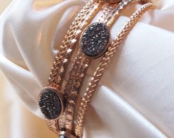 Set of 5 Bracelets, Drusy Quartz Accents
