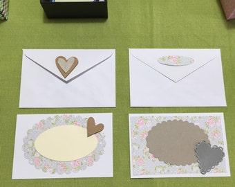2 shabby romantic greeting cards
