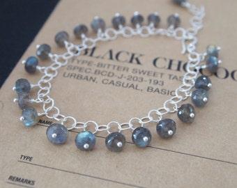 Flashy Blue Labradorite Sterling Silver Bracelet