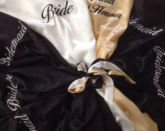 PACKAGE of 7 ~ Bridal Robes ~ Personalised Embroidery ~ Mix n Match styles, colours and sizes ~ Wedding Bride Bridesmaid Hens Gift
