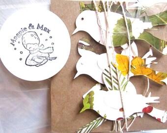 Bird Garland, Bird Theme, Bird Party, Woodland Wedding, Woodland Fairies, Leaf Pages, EcoFriendly Party Decor