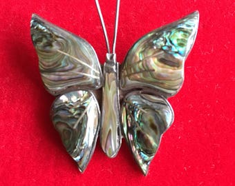 Butterfly Brooch with Abalone Inlay