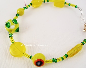 Yellow and green beaded bracelet