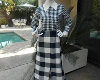 Vintage 1970's Black & White Plaid Dress - Size 12