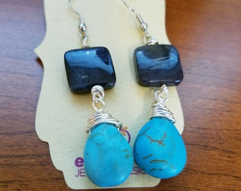 Dumortierite and Turquoise Howlite Wire Wrapped Drop Earrings