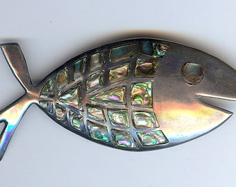 VINTAGE MEXICO STERLING silver & inlaid abalone happy fish pin brooch