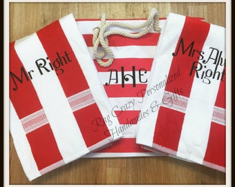 Personalized Tote, Beach Set, wedding Couples Gift, Beach Bag, wedding gift, Couples Gift, Anniversary gift, Tote set, Beach Towels