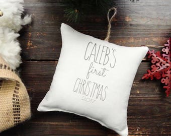 Child's First Christmas Ornament, Personalized Christmas ornament, Custom First Christmas ornament, Rustic Christmas, Linen Pillow ornament