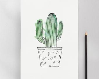 Stetsonia Cactus Illustration Art Print