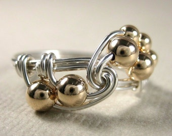 Math Jewelry Fibonacci Ring Wire Wrapped Math Ring Mixed Metals Sterling Silver and Gold Filled Fibonacci