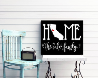 HOME STATE FAMILY Last Name Sign California New York Art Print Canvas