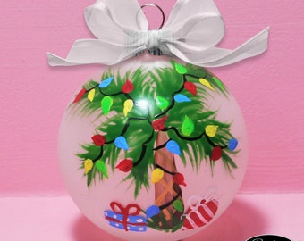 tropical christmas palm tree ornament hand painted glass ball ornament babys birth or birthday or christmas can be personalized