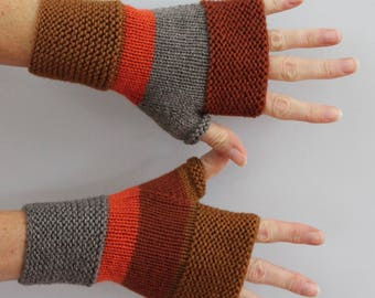 mink and Brown, orange hand knitted wool mittens