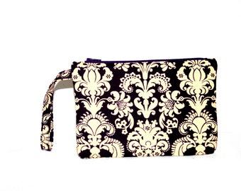 Plum Damask Wristlet Bag, Cell Phone Bag, Cosmetic Bag, Small Tech Bag Padded Wristlet