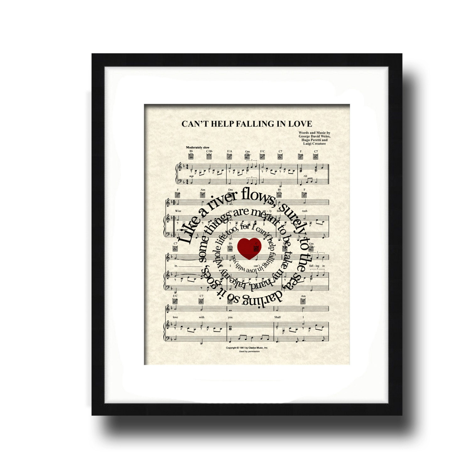 Dancing On My Own Sheet Music With Lyrics: Can't Help Falling In Love Sheet Music Art Print Elvis