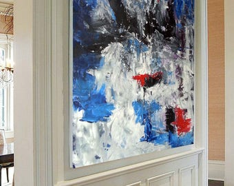 BLUE ABSTRACT Painting, Large Original Painting, Large Abstract Art, Blue Acrylic Painting on Canvas XL large Canvas Art Blue Abstract Decor
