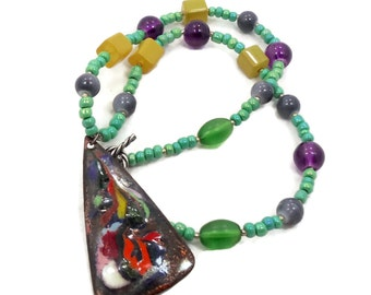 SALE, Enameled Pendant, Beaded Necklace, Vintage Jewelry, Rainbow Colors, 1970s, Copper, Blue Black, Green Purple, Ethnic Hippie, Boho
